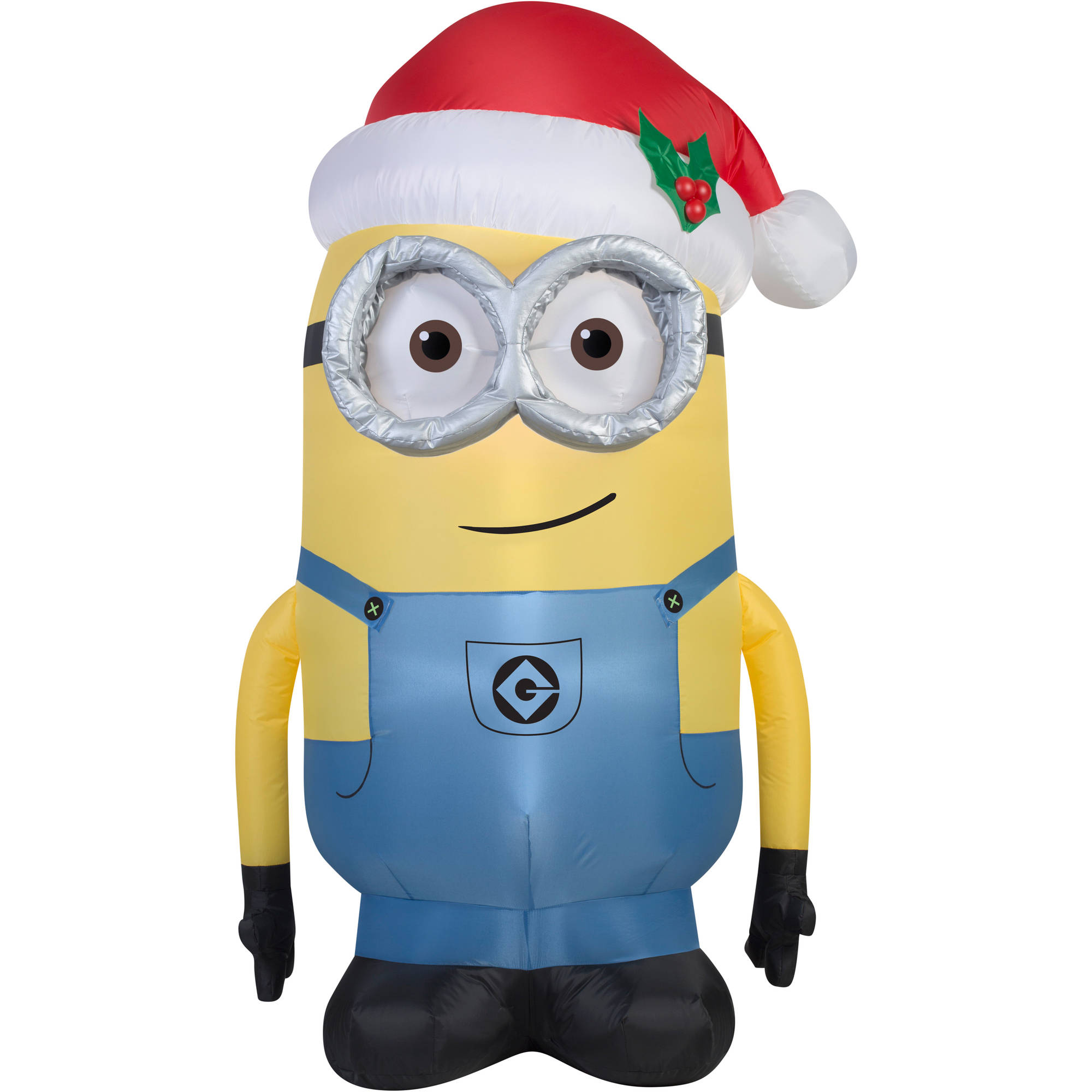 5 Airblown Inflatable Minion Dave With Santa Hat