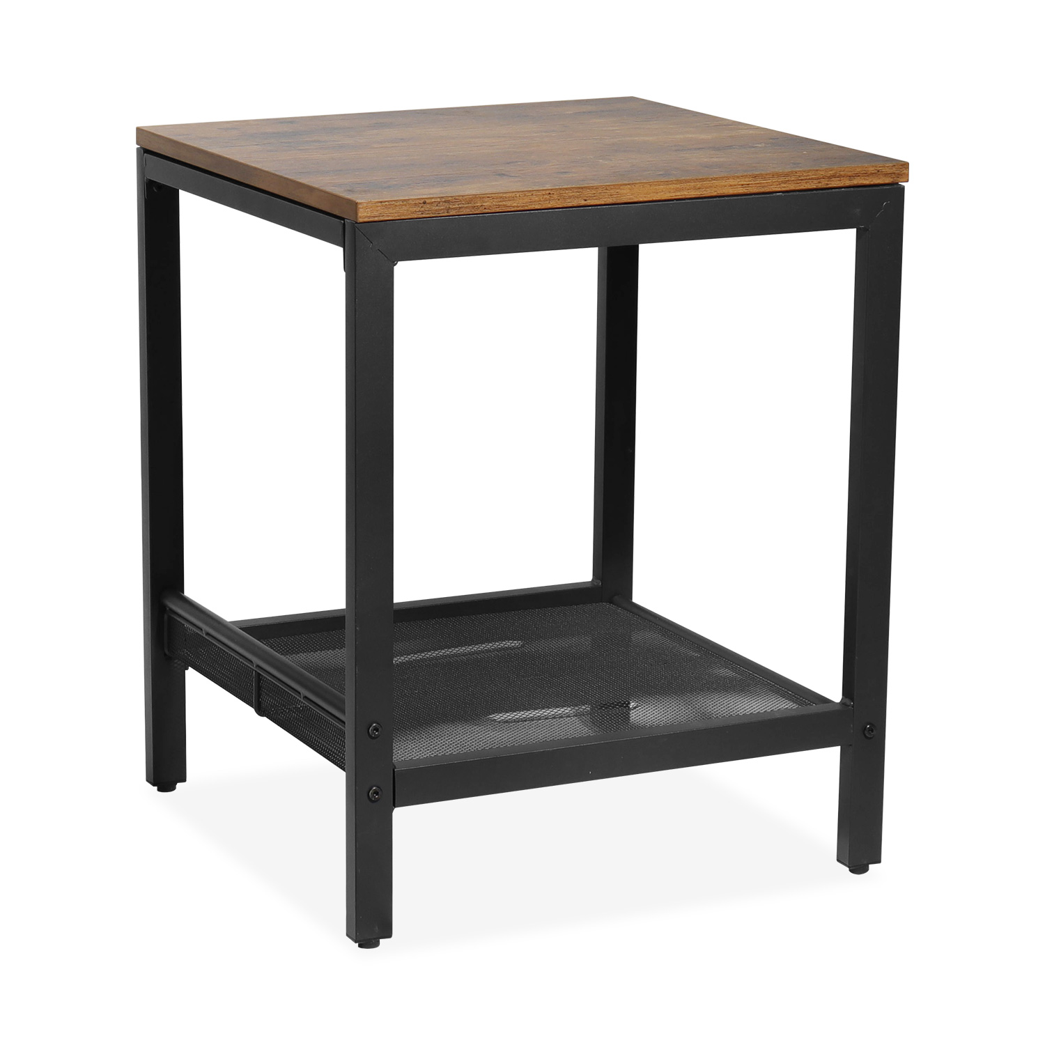 segmart farmhouse small side coffee table solid wood cocktail table with storage mesh shelf square tea table with frosted black iron frame for