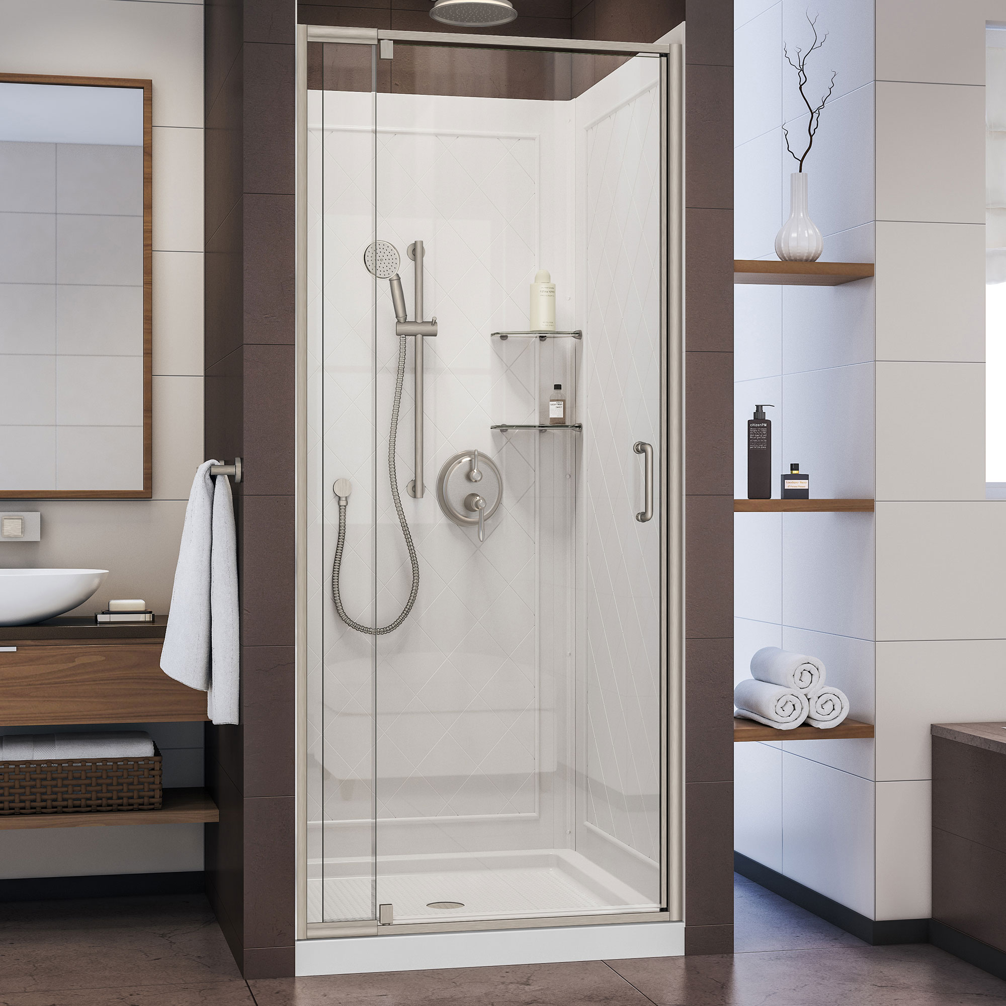 Dreamline Flex 32 In D X 32 In W X 76 3 4 In H Semi Frameless Shower Door In Chrome With White Base And Backwalls