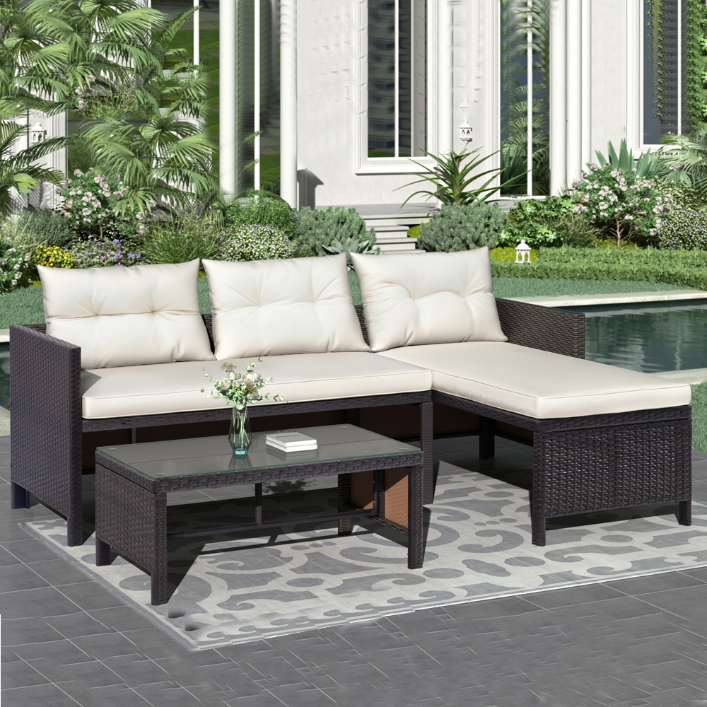 wicker patio bistro sofa set 3 piece outdoor furniture patio conversation set with beige cushion coffee table rattan sofa sectional furniture set
