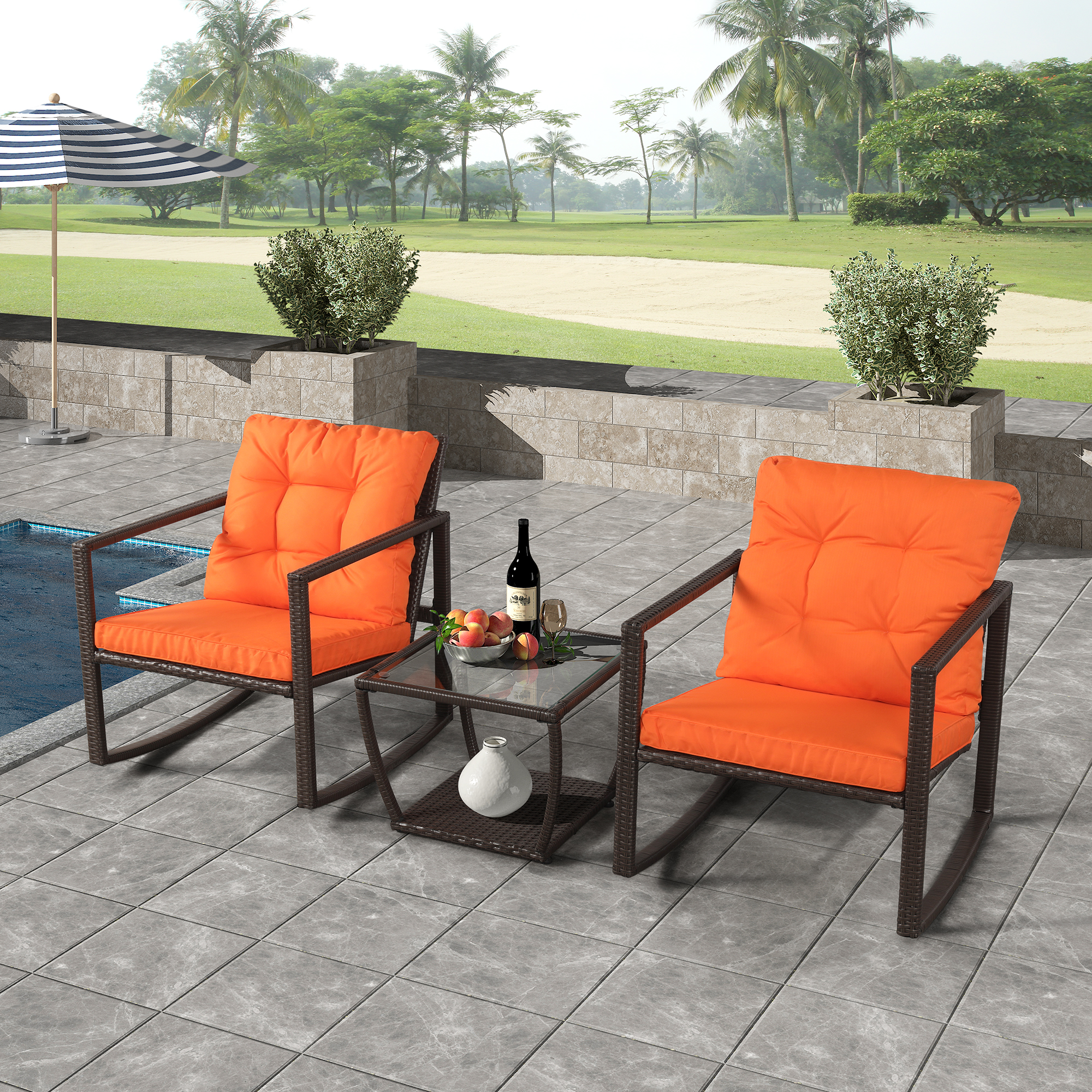 wicker patio rocking chair set 3 piece outdoor patio furniture bistro set with rocking chairs coffee table outdoor rocking chair sets for yard