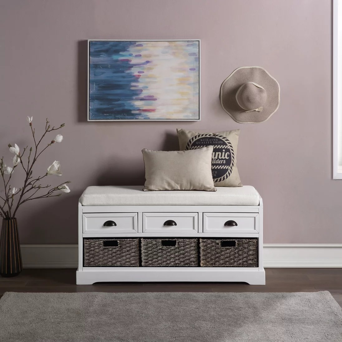 Entryway Bench With Storage Drawer Wooden Entryway Storage Bench Entryway Shoe Storage Bench End Of Bed Bench Foot Rest Ottoman Shoe Organizing Bench Hallway Foyer Bedroom Bench White A1252 Walmart Com