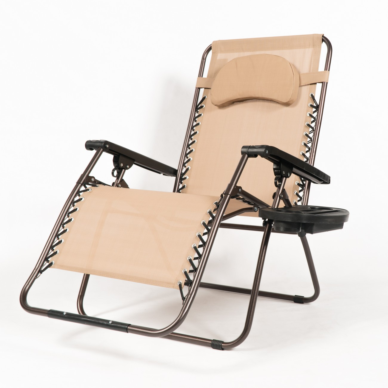 belleze extra large oversized zero gravity chair recliner super durable reclining patio chair with cup holder beige walmart com