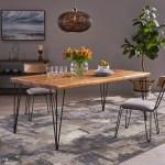 Teak Finish Rustic Iron Hairpin Legs Rectangular Acacia Wood Table Top 72 Christopher Knight Home Kama Indoor Dining Table Talkingbread Co Il
