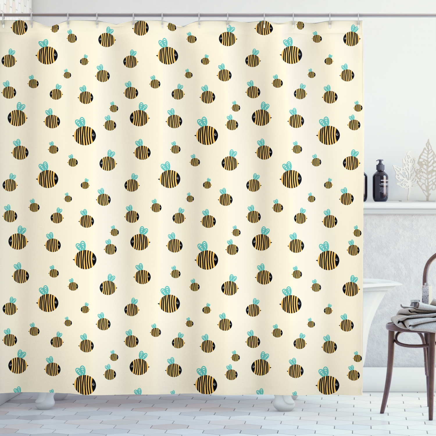 bee shower curtain flying chubby fat bumble bees theme on plain background with hand drawn style print fabric bathroom set with hooks 69w x 75l