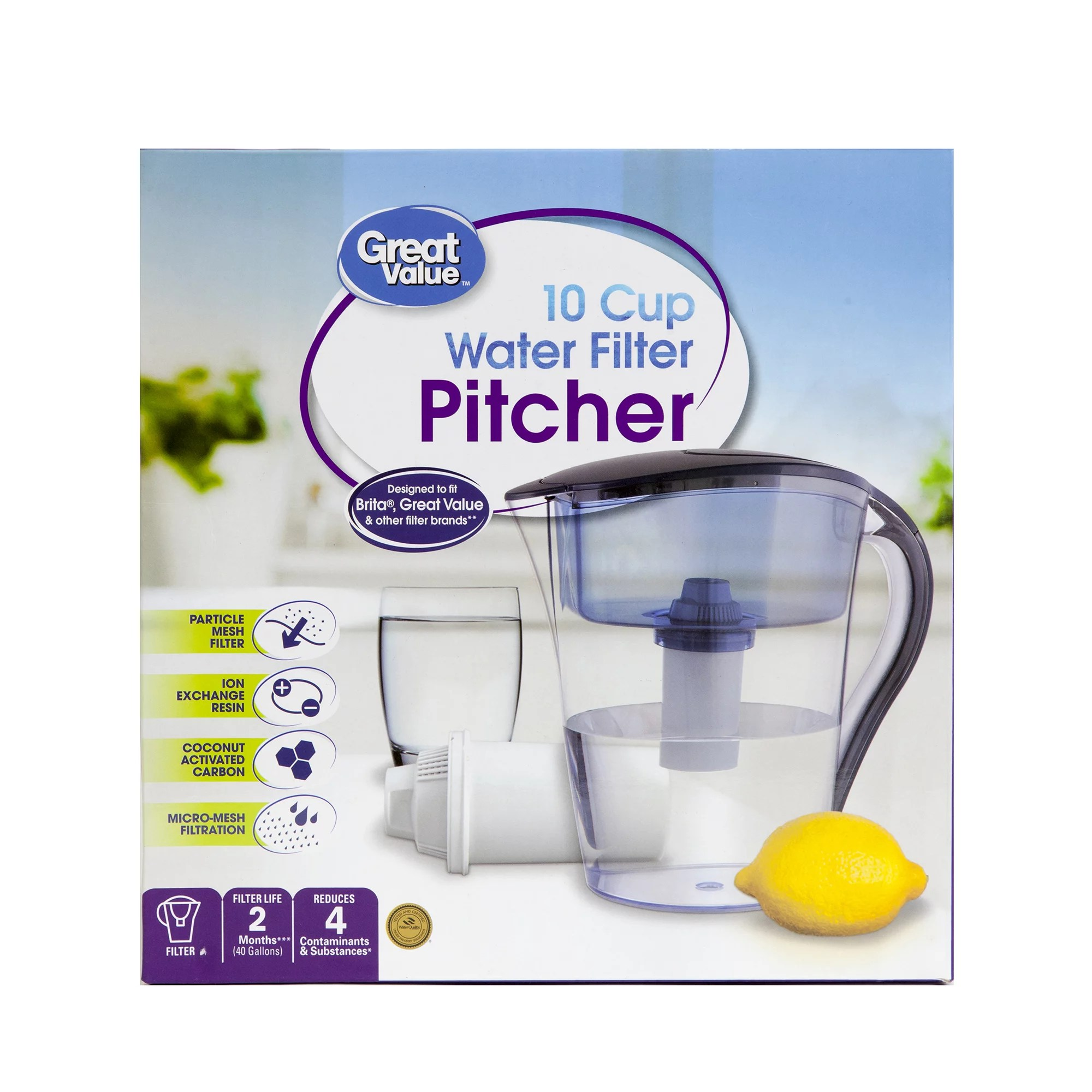 great value 10 cup water filter pitcher walmart com