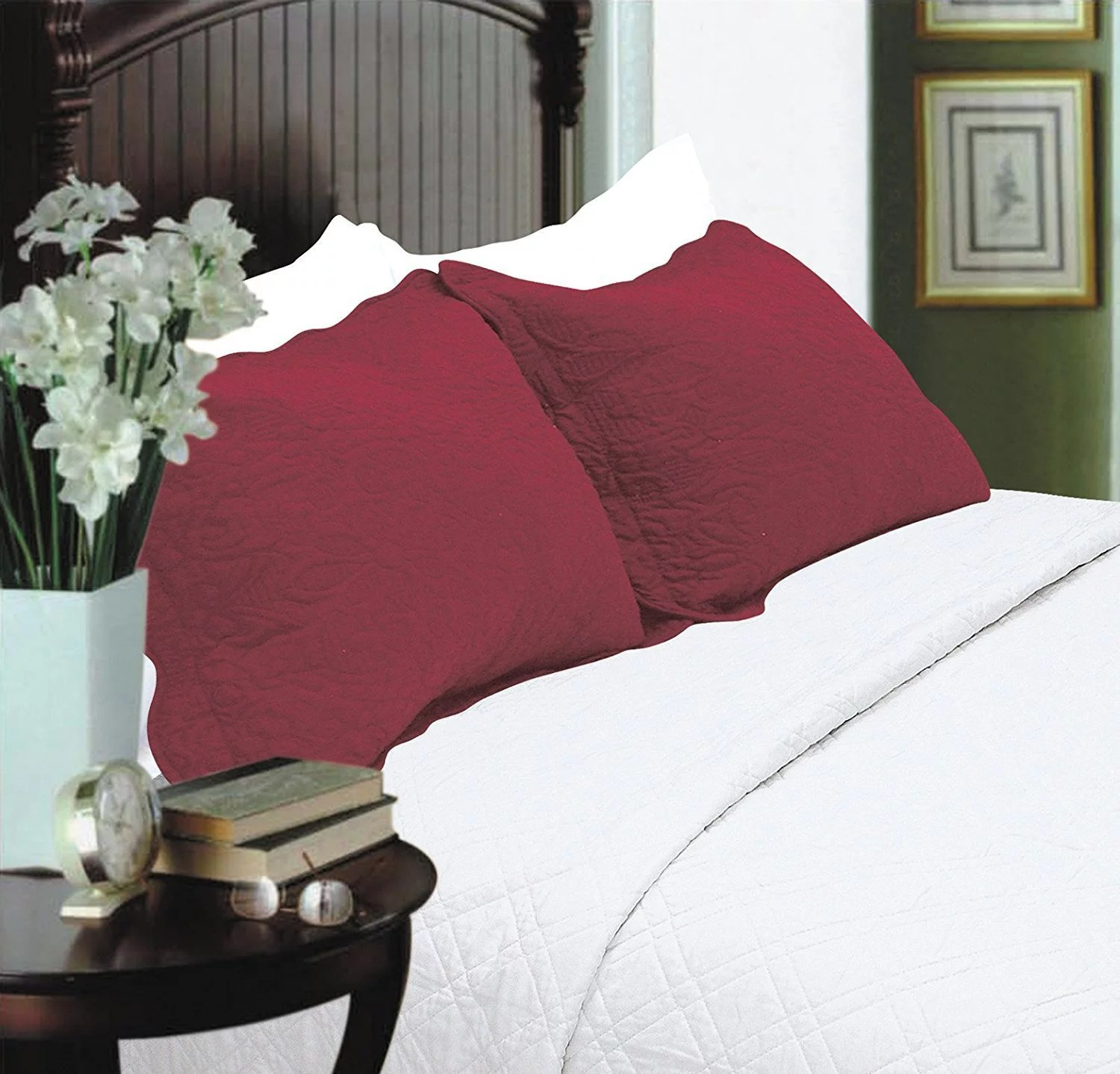 all for you 2 piece embroidered quilted pillow shams king size total 10 colors burgundy red