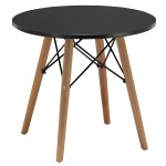 Duhome Dining Table Side End Table Round Coffee Table Mid Century Modern Kitchen Table Solid Wood Desk Black Walmart Com Walmart Com