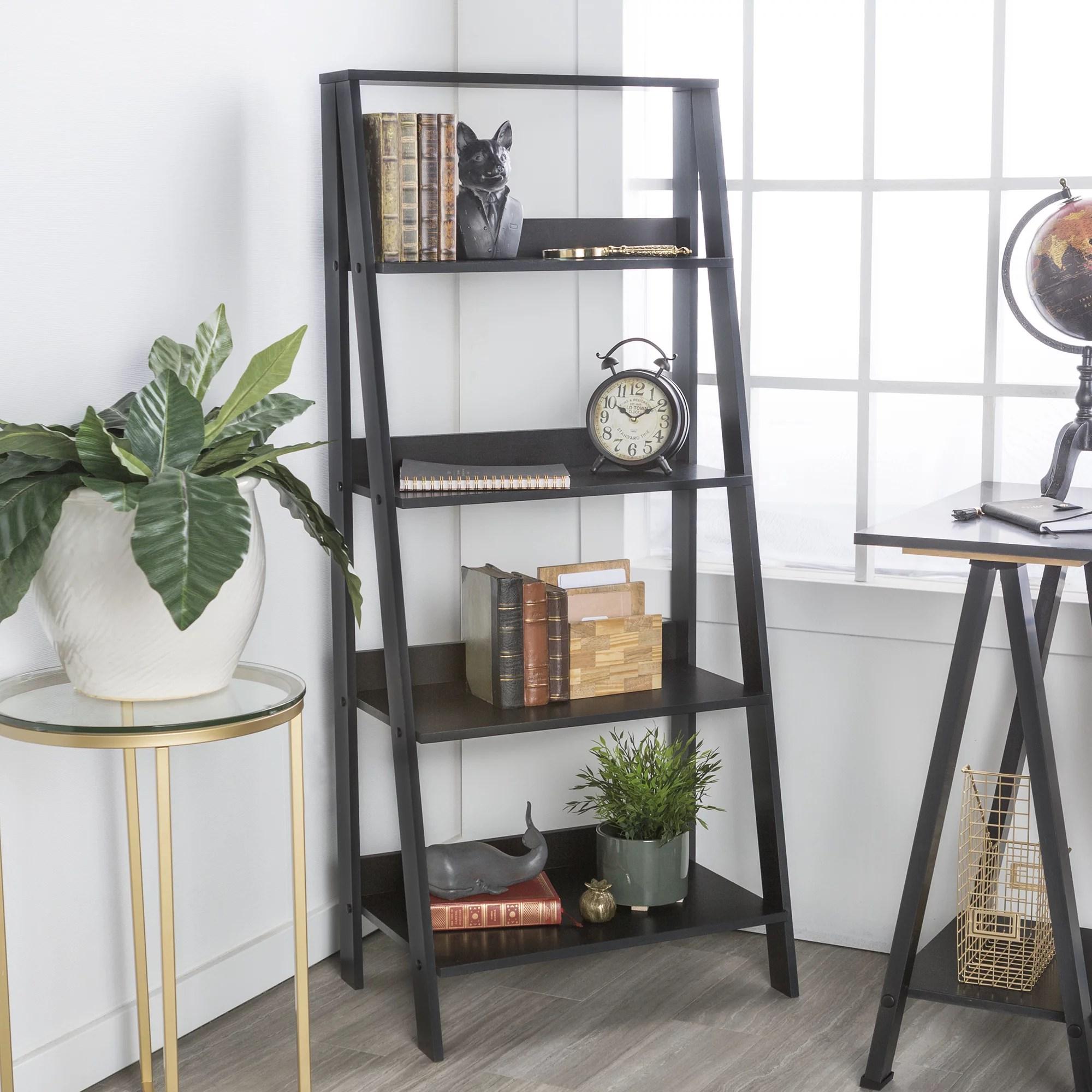 manor park 4 shelf wood leaning ladder bookshelf black