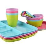 Mainstays Plastic Multi Colored Kids Dinnerware Set 24 Piece Walmart Com Walmart Com