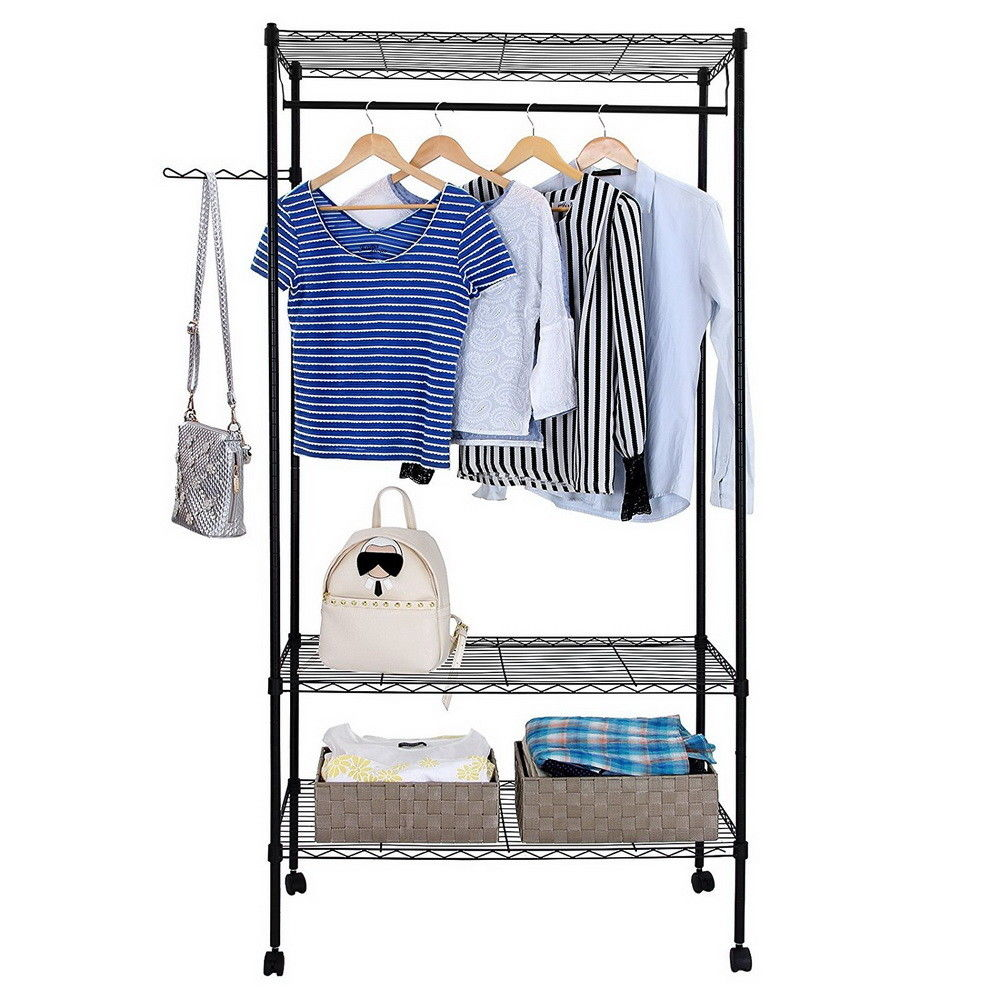 zimtown closet system storage organizer garment rack portable clothes hanger dry shelf walmart com