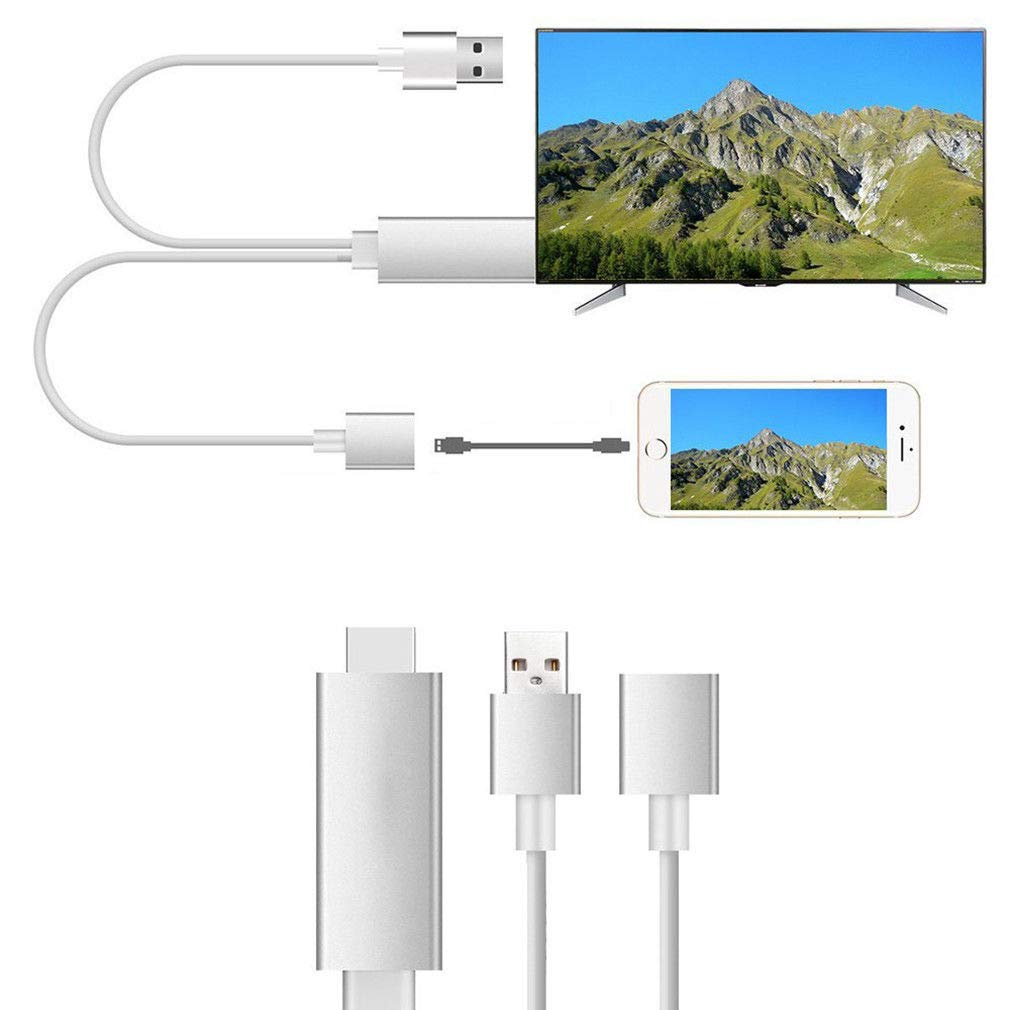 Compatible with iPhone to HDMI Adapter Cable, 3 in 1 HDMI/Micro USB/TYPE C Adapter, 1080P HDTV Cord Converter for iPhone Xs Max XR X 8 7 6 Plus iPad Pro Air Mini iPod – Plug and Play, I4573