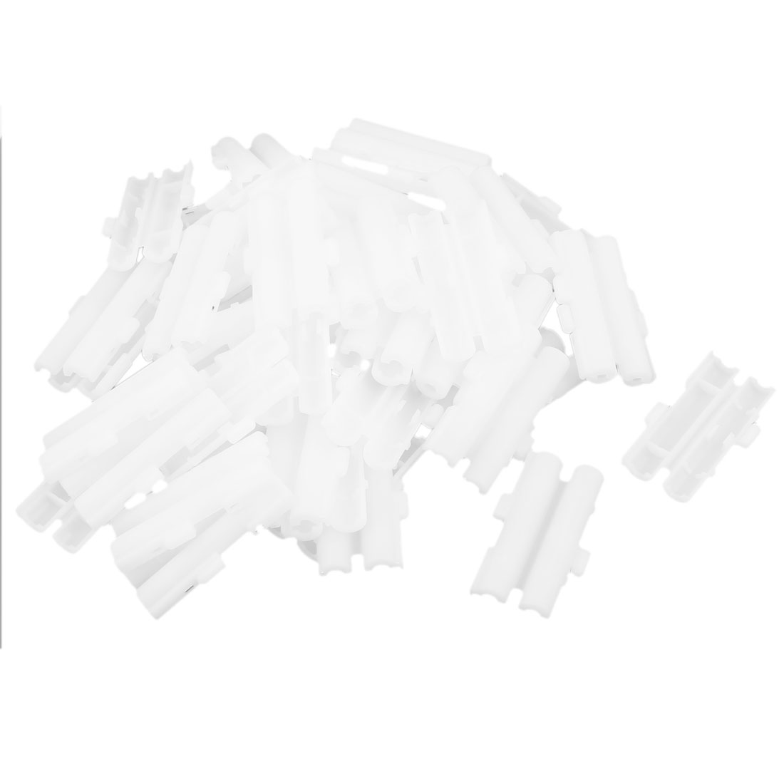 Unique Bargains 50 Pieces White Plastic Double 6x30mm Tube