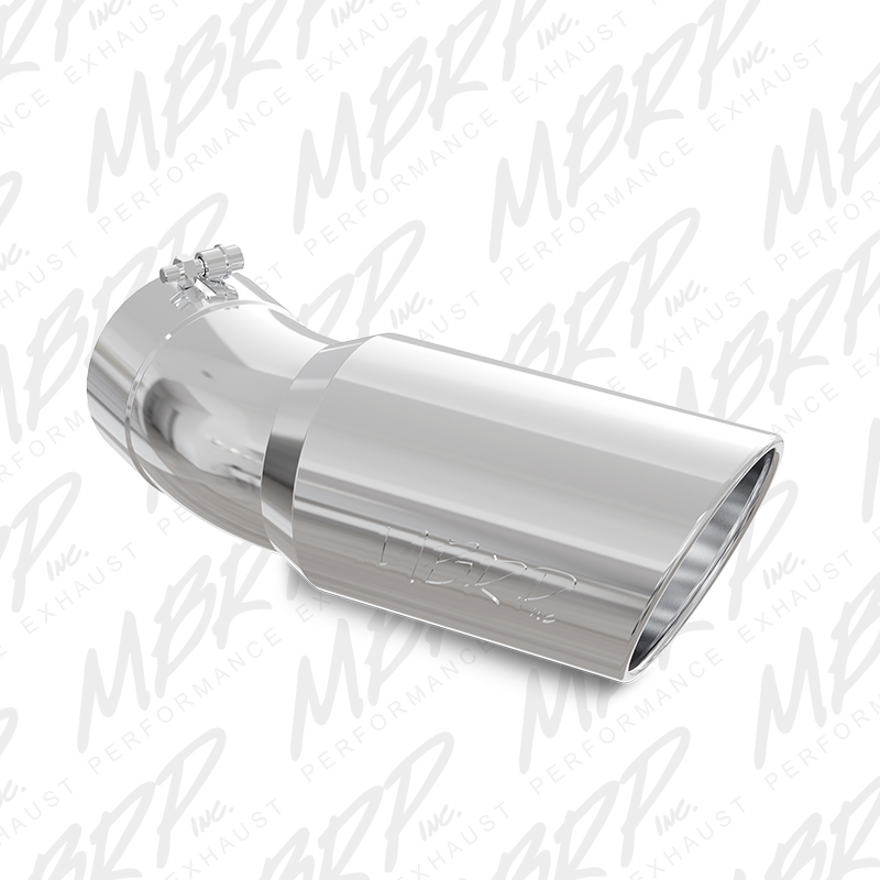 mbrp t5154 exhaust tail pipe tip 5 inch inlet 6 inch outlet t304 stainless steel round angle cut rolled edge 15 inch length