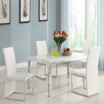Homelegance Clarice 5 Piece Chrome Dining Table Set Modern White Walmart Com Walmart Com