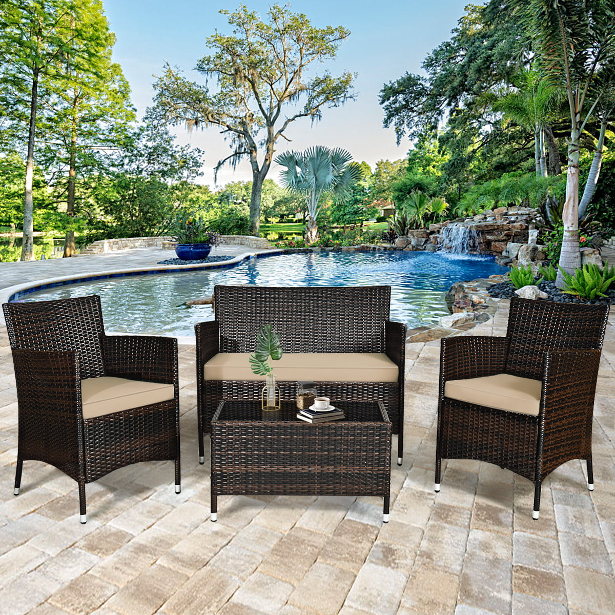 gymax 4pcs patio rattan outdoor furniture set w cushioned chair loveseat table