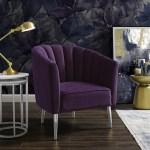 Nicole Miller Accent Chair Musa Velvet Upholstered Channel Tufted Back Purple Chrome Walmart Com Walmart Com