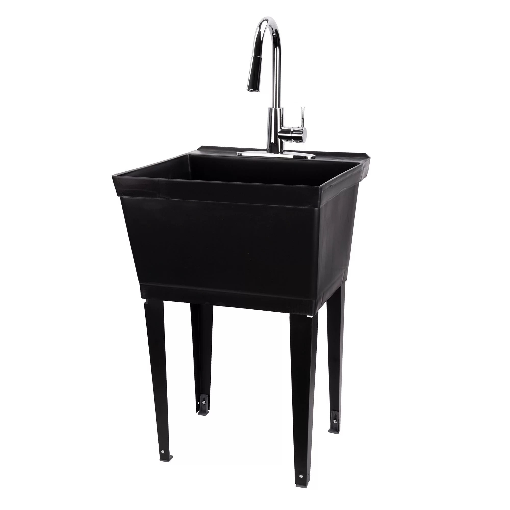 19 gallon black utility sink with high arc pull down chrome kitchen faucet 6503blkcp