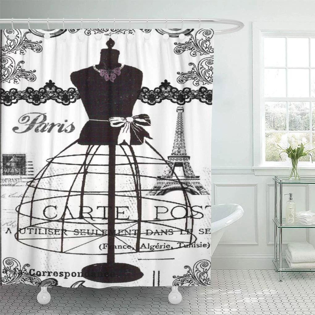 cynlon vintage black white paris french france eiffel tower lace bathroom decor bath shower curtain 66x72 inch
