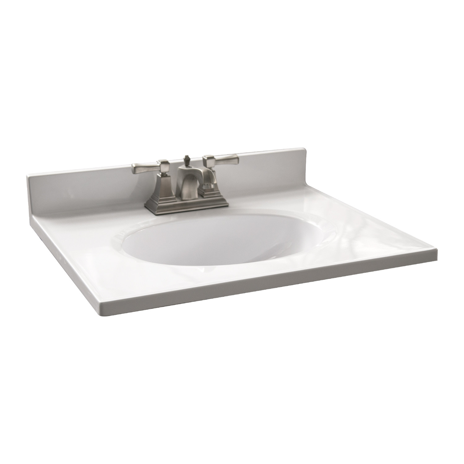 design house 25 in w cultured marble vanity top in white with solid white bowl