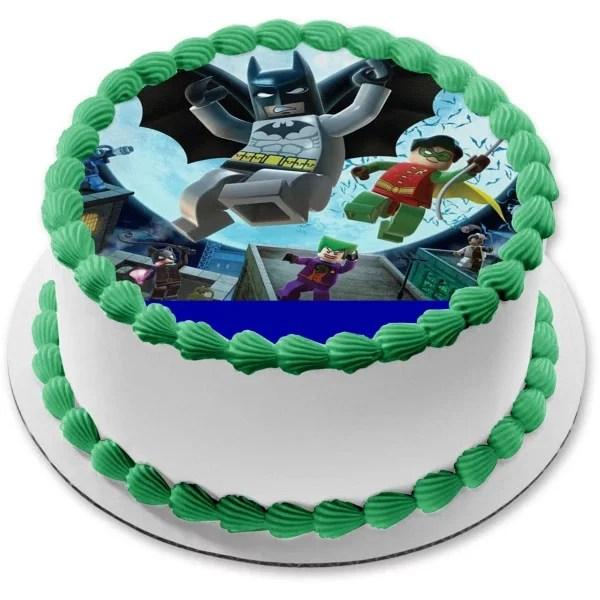 Lego Batman 2 Personalized Edible Cake Topper Image 7 5 Round Walmart Com Walmart Com