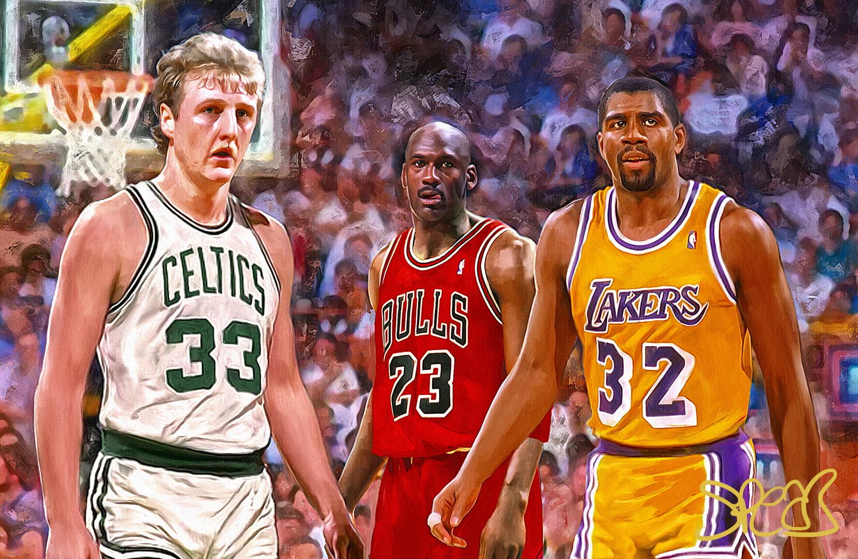 artist signed original art 80 s basketball legends larry bird magic johnson michael jordan 11x17 fine art poster print