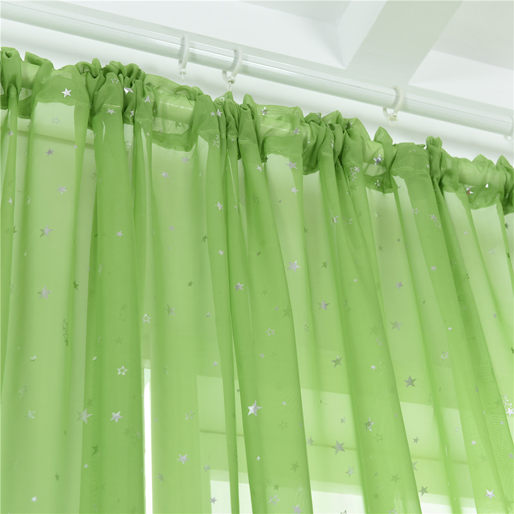 sheer curtains little star print window screen curtains for living room dining room office hotel 1 panel 40 x79