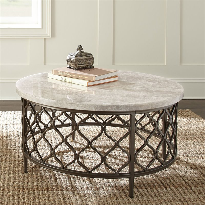 roland round white stone top with bronze metal base coffee table