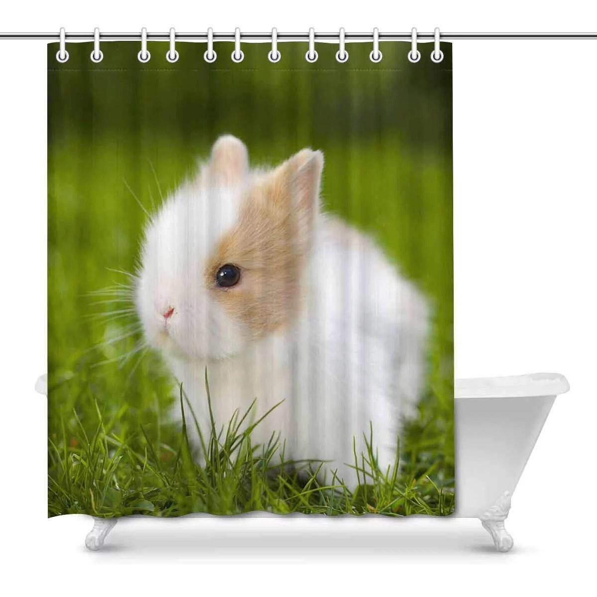Mkhert Baby Rabbit Sitting In Grassland Cute Animal Home Decor Waterproof Polyester Fabric