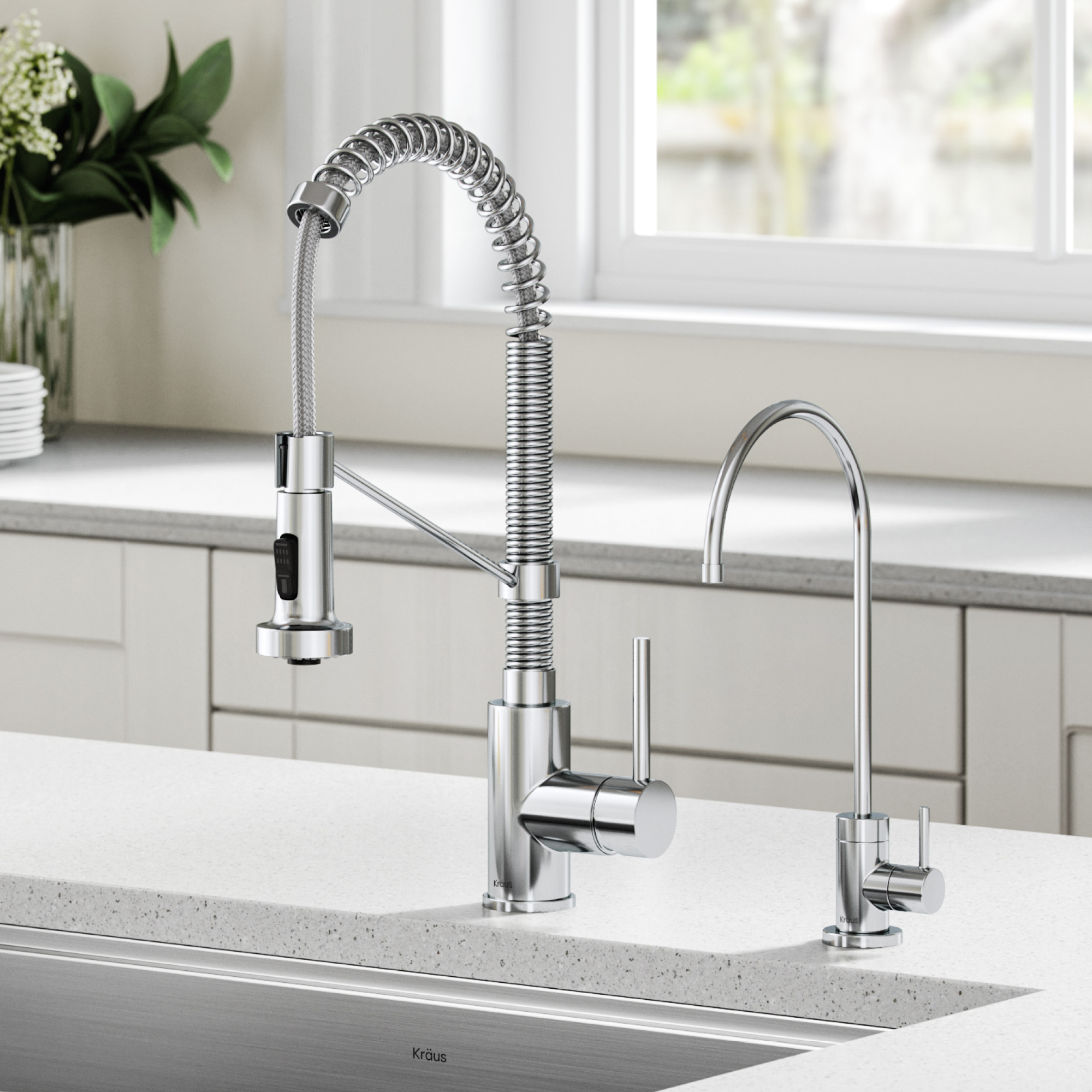 kraus bolden commercial style pull down kitchen faucet and purita water filter faucet combo in chrome