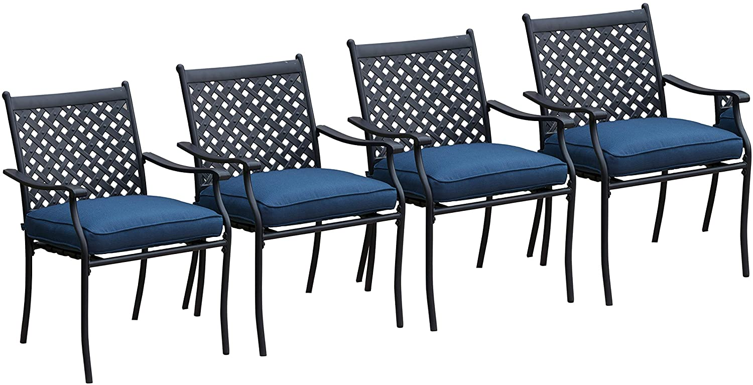 lokatse home 4 piece outdoor patio metal wrought iron dining chair set with arms and seat cushions blue walmart com