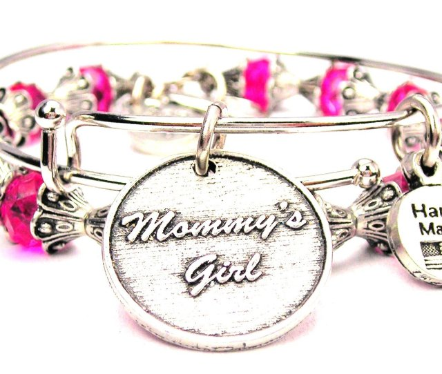 Chubby Chico Charms Mommys Girl Collection Bracelet In Hot Pink