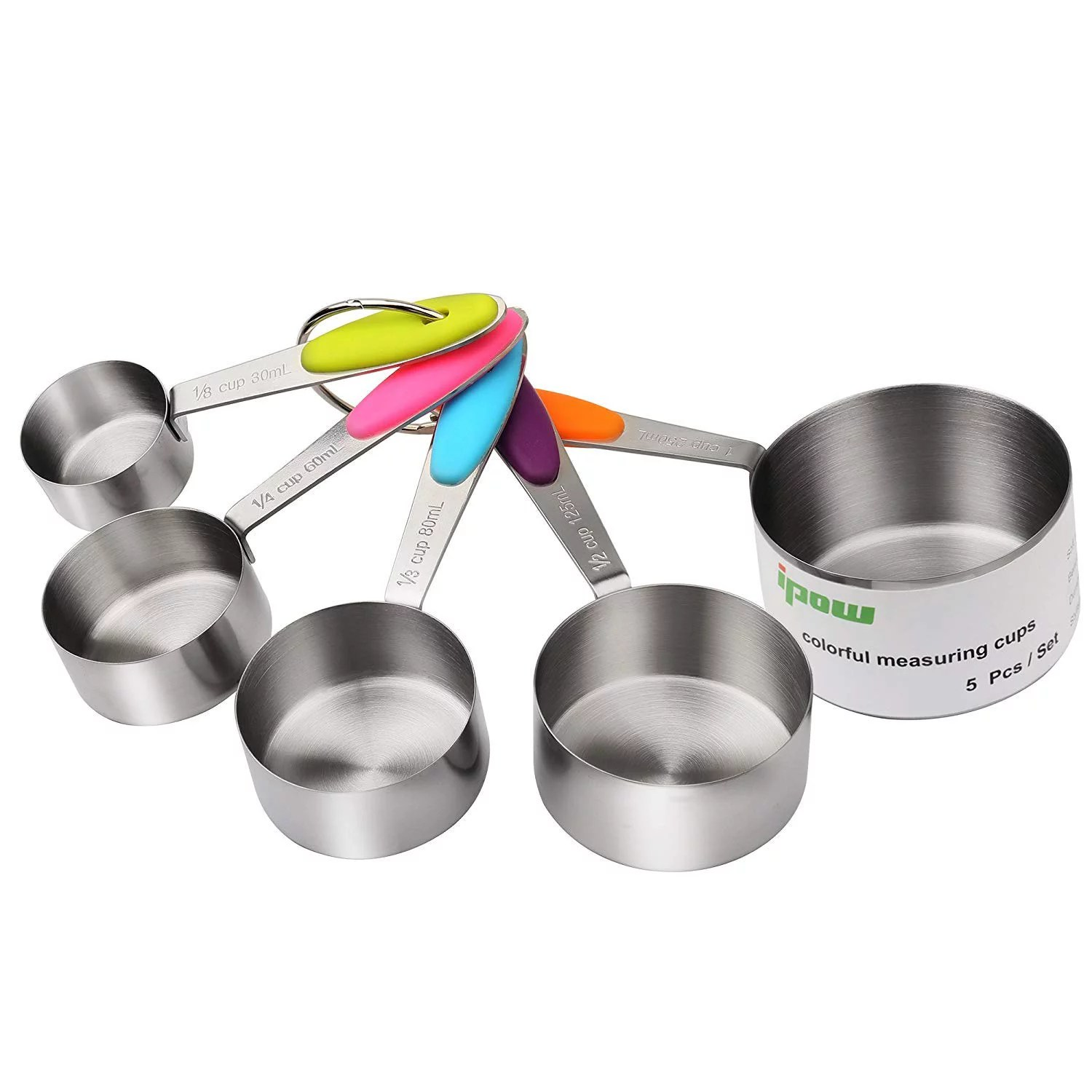 Ipow Stainless Steel Dry Amp Liquid Measuring Cups Set Of 5