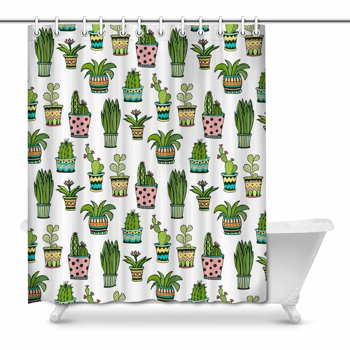 mkhert colorful doodle flowers watercolor succulent and cactus waterproof shower curtain decor fabric bathroom set 66x72 inch walmart com