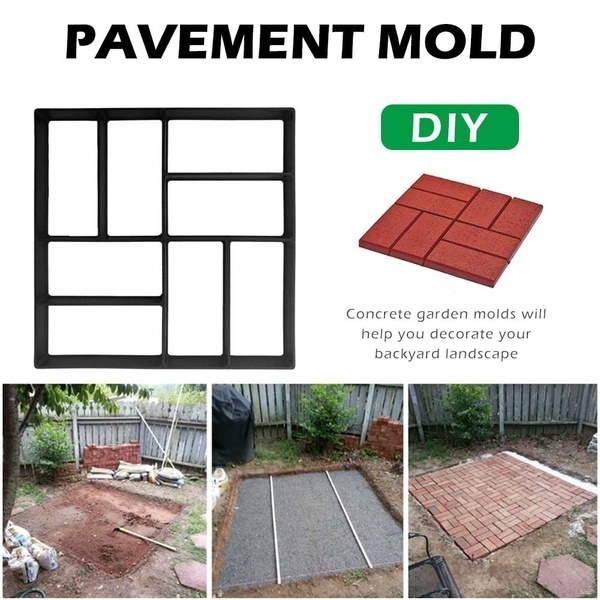 creative garden walk pavement mold diy manually paving cement brick concrete molds path maker