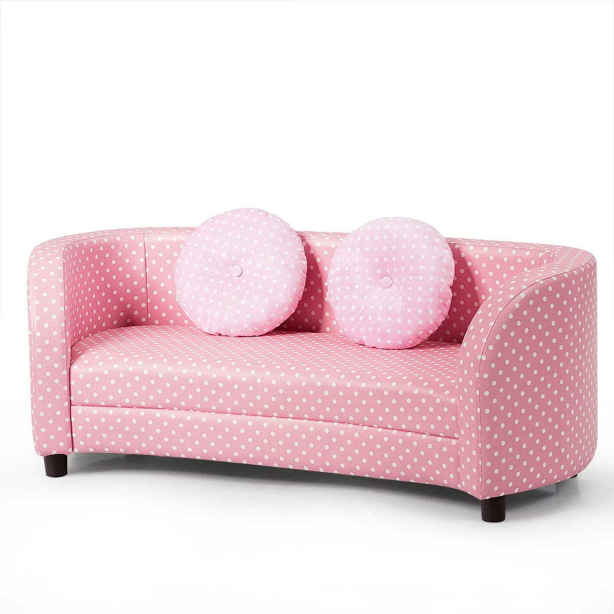 giantex 2 seats kids couch armrest chair playroom furniture two cloth pillows pink