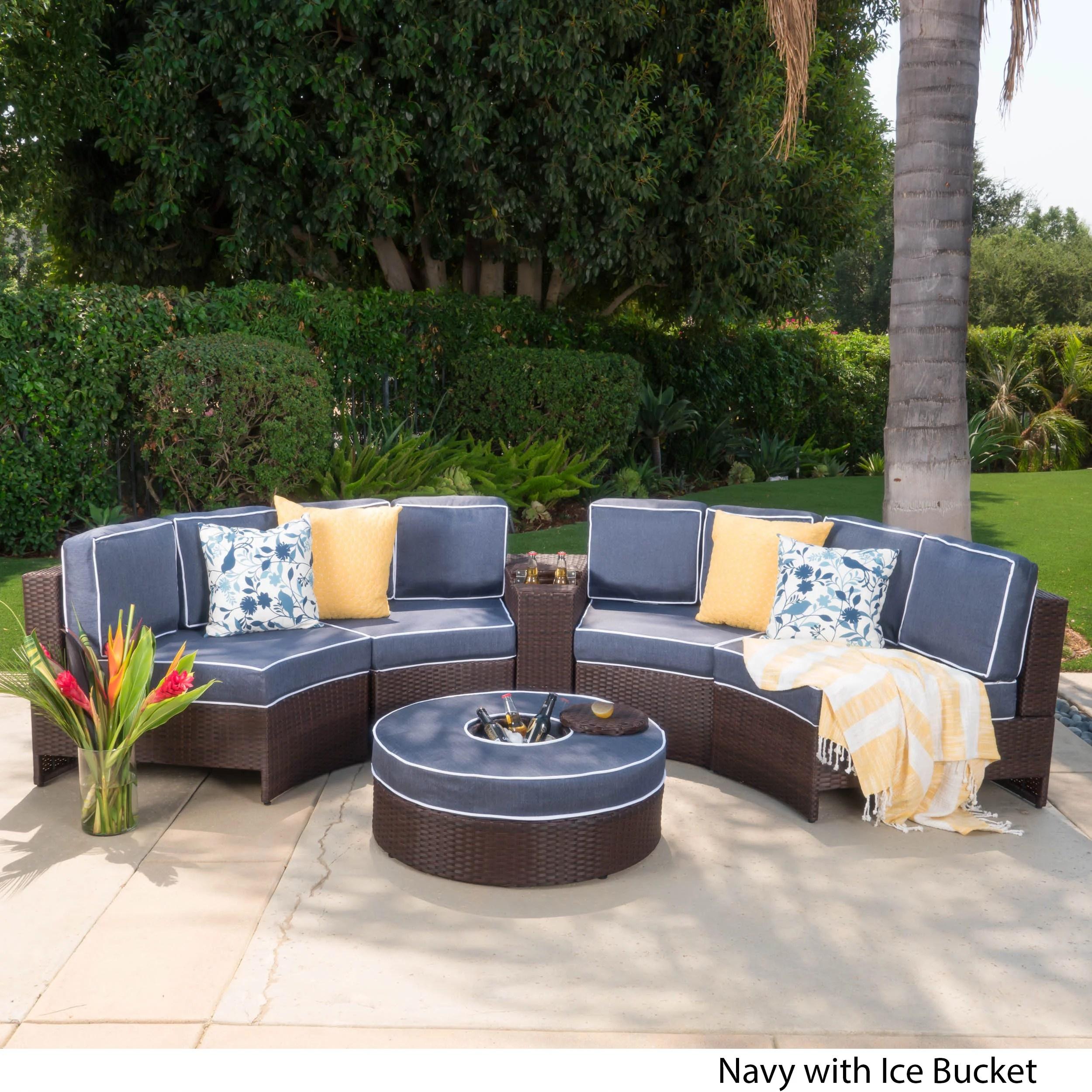 riviera portofino wicker 6 piece semicircular sectional sofa seating set with cushions and ice bucket ottoman navy walmart com
