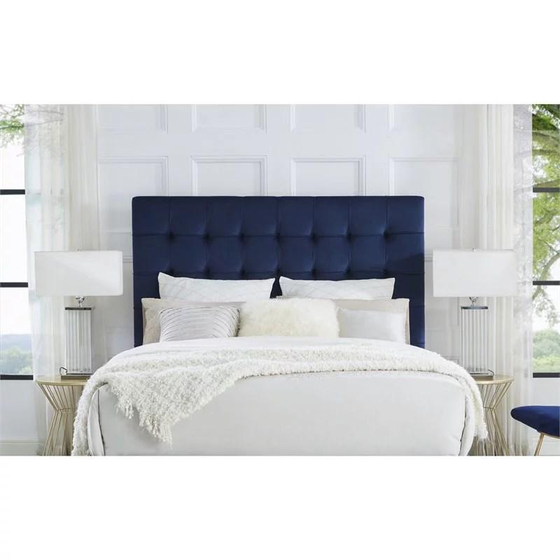blake blue velvet tufted headboard king size upholstered tufted