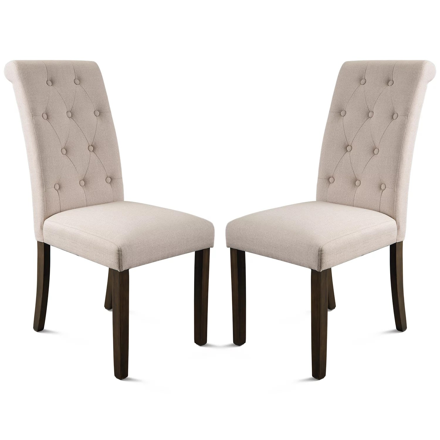 Parsons Tufted Dining Chairs Urhomepro Set Of 2 Upholstered High