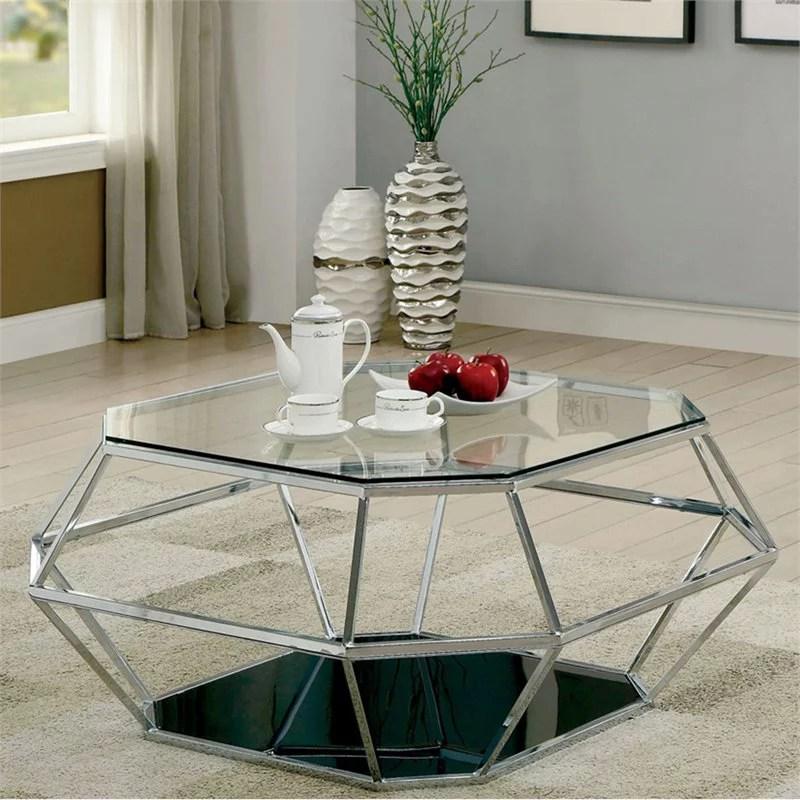furniture of america dydo geometric glass top coffee table in chrome walmart com