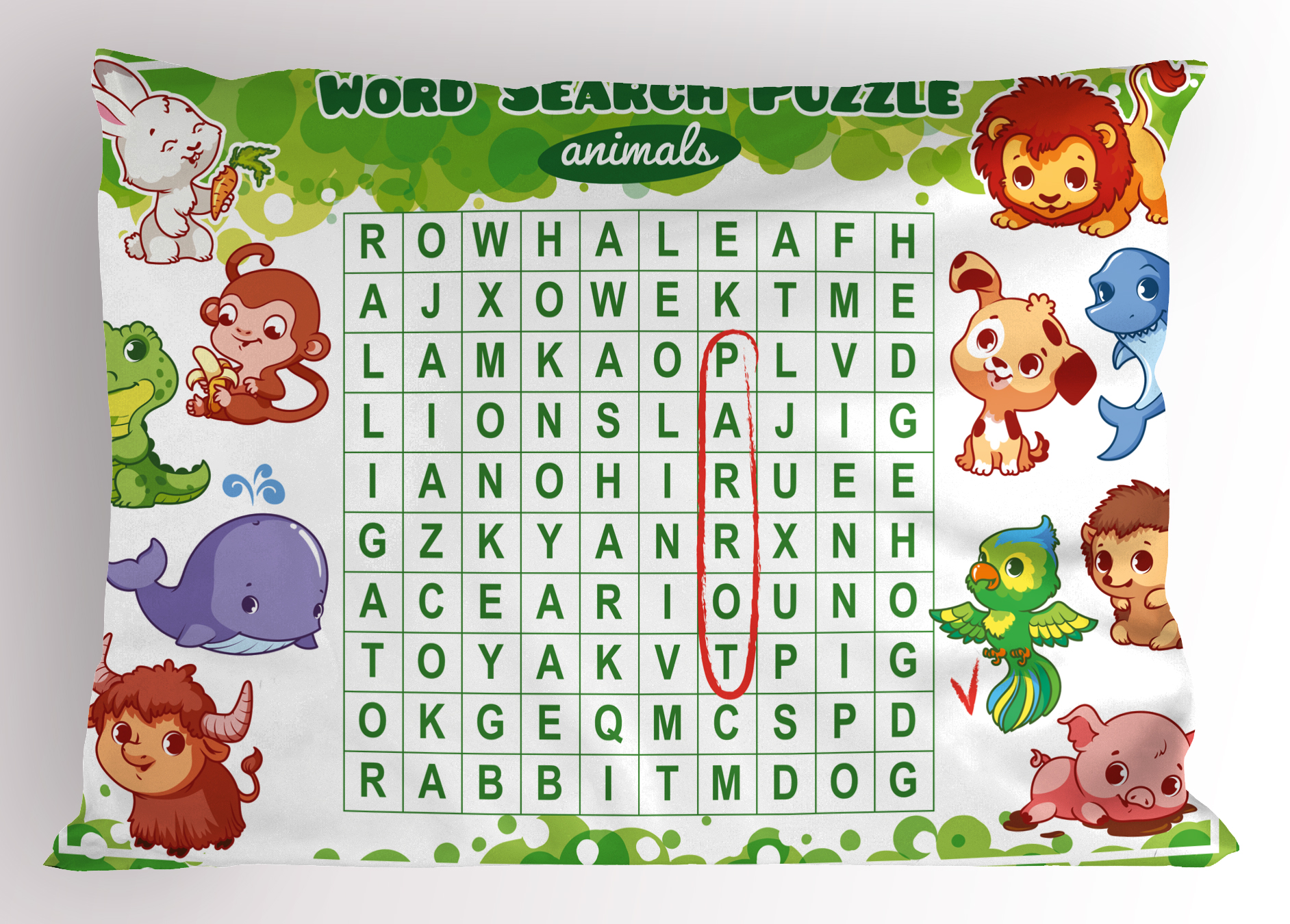 Word Search Puzzle Pillow Sham Educational Game For Kids