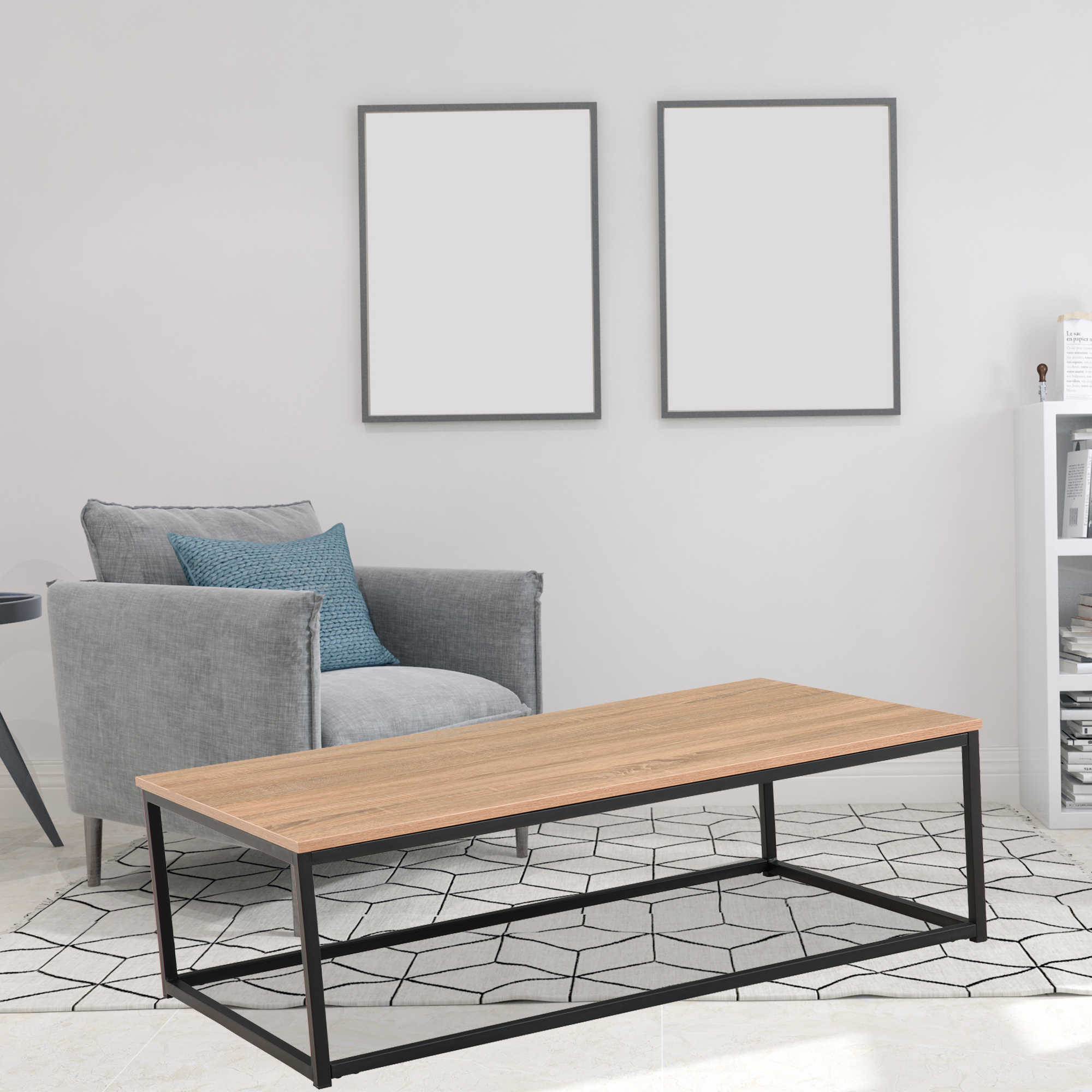 living room table rustic coffee table for living room tea table with metal box frame accent cocktail table side table end tables coffee tables for