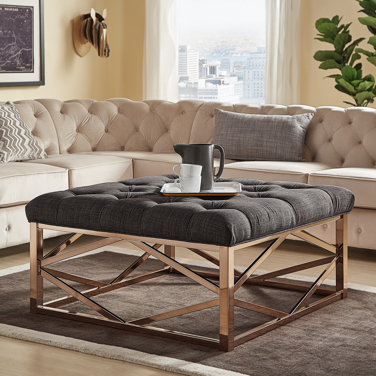 weston home libby button tufted cushion ottoman coffee table with champagne gold geometric base dark grey linen