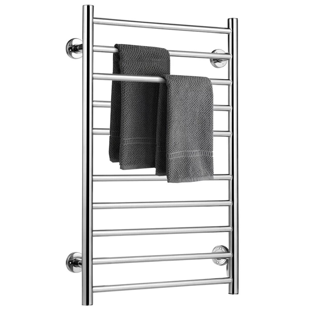 gymax stainless steel electric towel rail rack 10 bar rung heated bathroom warmer