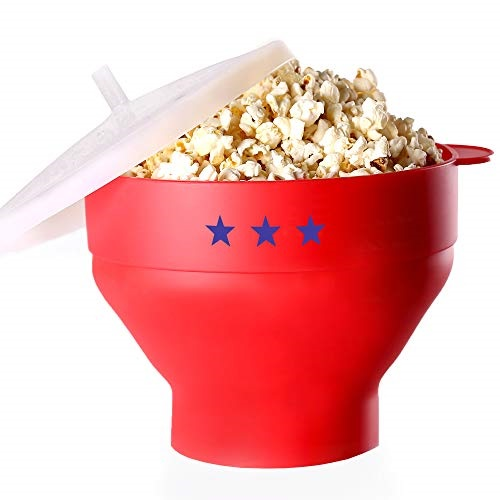 microwave popcorn popper a silicone bpa free the original pop corn hot air maker collapsible space saving bowl with lid and handles for healthy