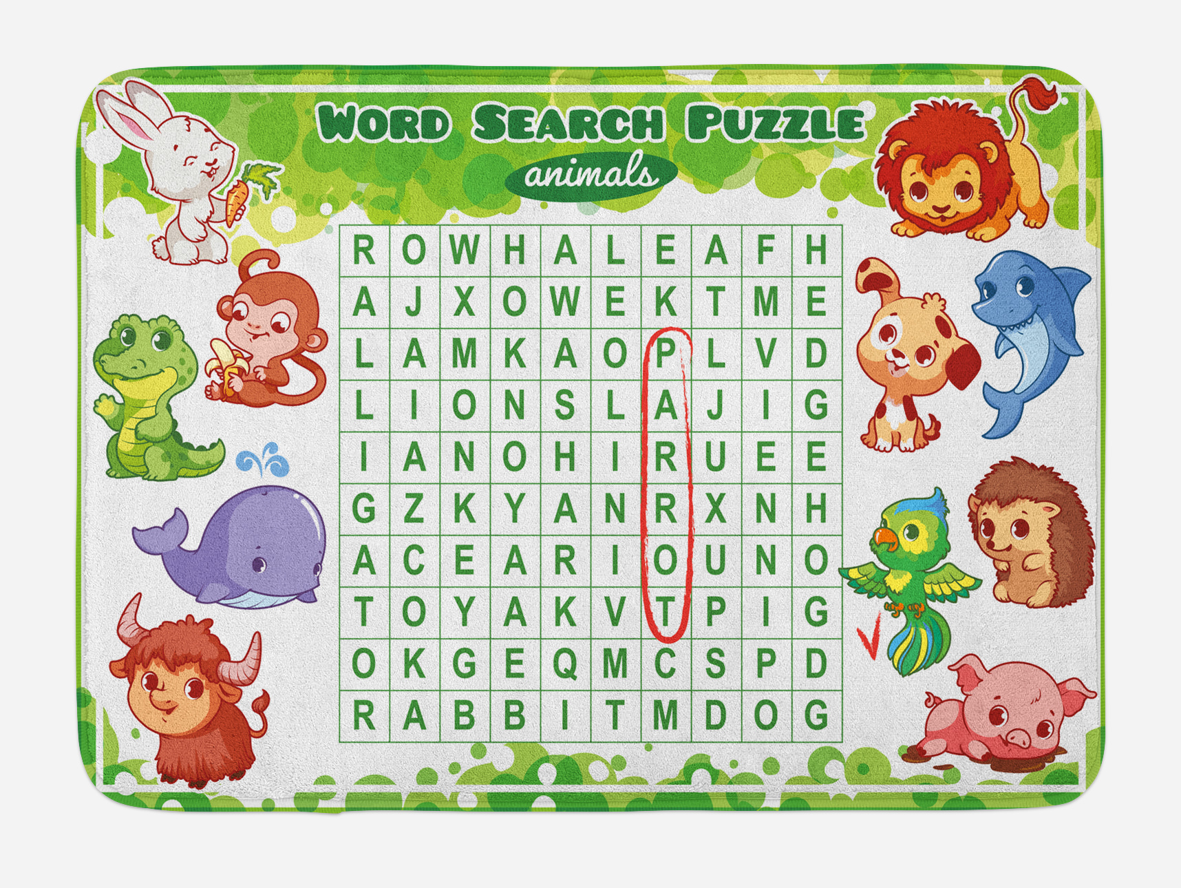 Word Search Puzzle Bath Mat Educational Game For Kids