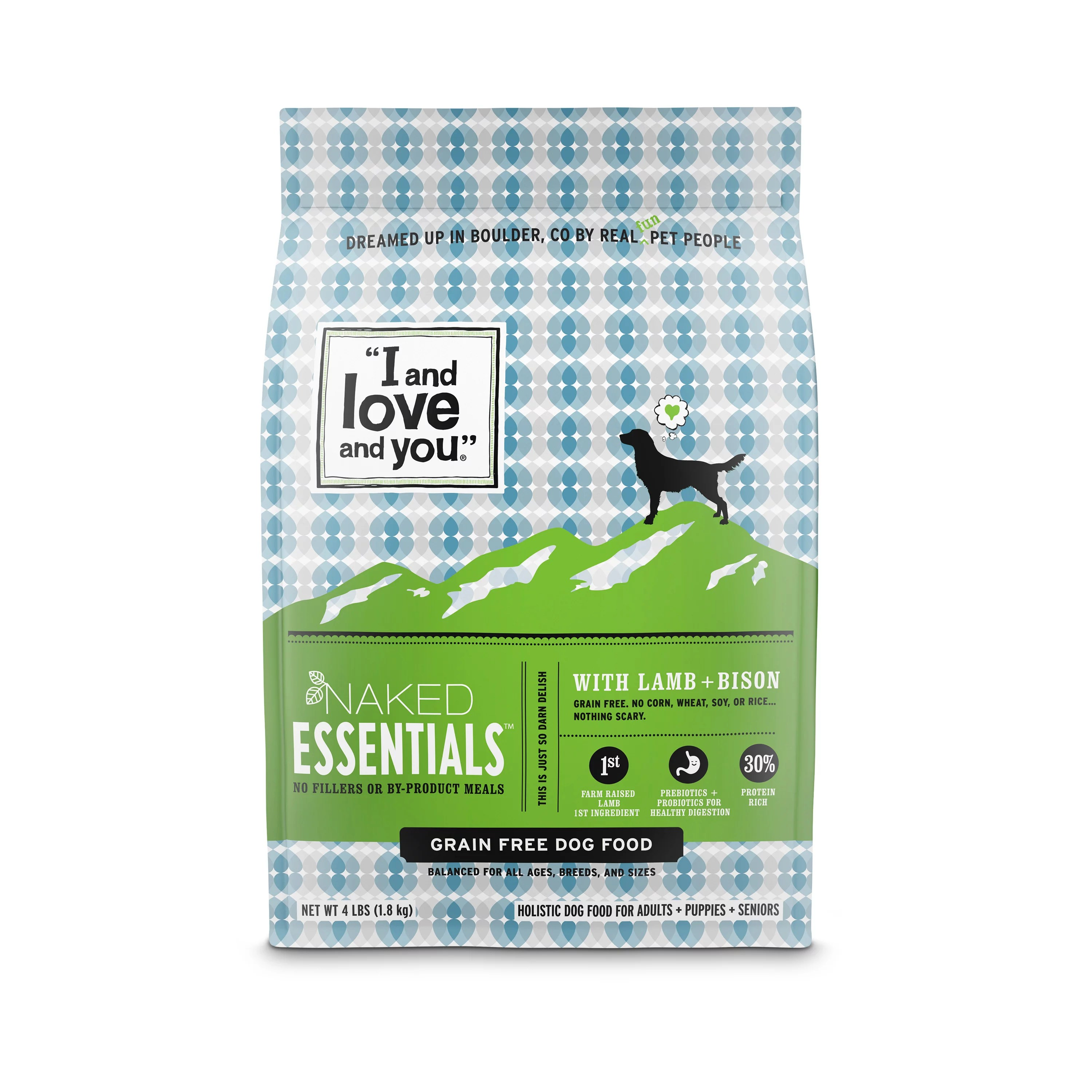 """I and love and you"" Naked Essentials Dry Dog Food, Grain-Free Lamb & Bison, 4 Lb"