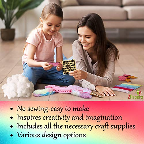 2pepers make your own unicorn pillow kit arts and crafts for girls no sewing needed diy stuffed plush pillow craft kit for kids unicorn gifts for
