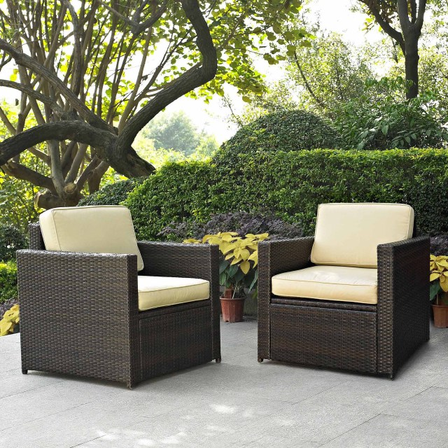 crosley furniture palm harbor 2-piece outdoor wicker seating set