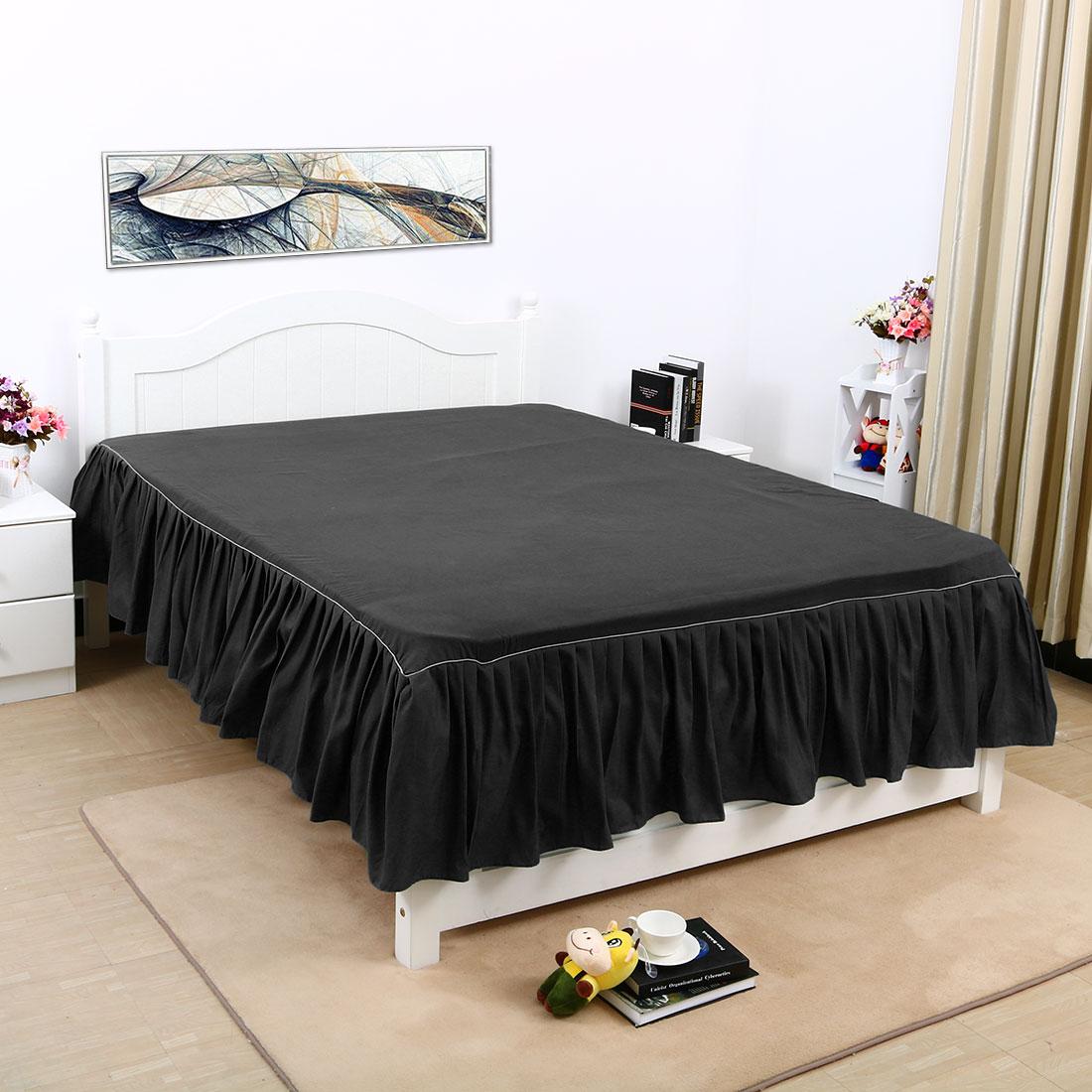 Bed Skirt Solid Polyester Bed Dust Ruffle 3 Sided Coverage